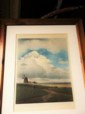 LARGE VINTAGE OLD PINE WOODEN FRAMED GLAZED WATERCOLOUR WINDMILL STORMY SKY